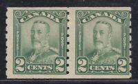 "Canada MINT OG PAIR Scott #161  2 cent green  ""KGV Scroll COIL""   F"