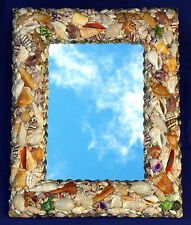 "Assorted Seashell Wall Mount Mirror 12"" X 15"" Seashore Costal Beach Decor"