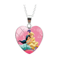 Aladdin And Jasmine Necklace Disney Princess Romantic Embrace Heart Girls Gift