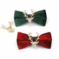 Men Bow Tie Velvet Metal Reindeer Pre Tied Neckwear Wedding Party Show Accessory
