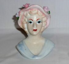 "Lady Head Vase Maker Unknown Light Blue Dress Hat With Flowers (5 1/4"")"