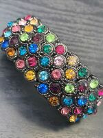 Muti Color WOW Glass Crystal Rhinestone Stretch Link Bracelet Wedding Event