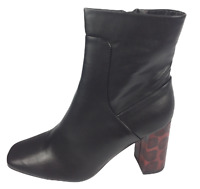 Womens Ladies Black Faux Leather High Heel Winter Shoes Ankle Boots Size 8 New
