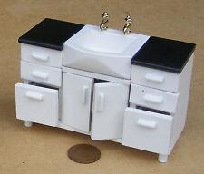 Échelle 1:12 Peint En Blanc évier unité de Maison de Poupées Miniature Cuisine Accessoire DF525
