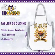 Tablier de cuisine personnalisé LE ROI DU BARBECUE C'EST PAPA  cadeau original