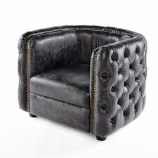 vintage cuir véritable Chesterfield FAUTEUIL noir design club cuir Fauteuil 461