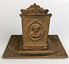 Antique Match Holder Cast Metal Gilded Ornate Detail