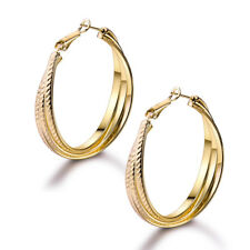 Tassel Twill Pattern 3-Ring Dangle Hoop Yellow Gold Filled Lady Wedding Earrings
