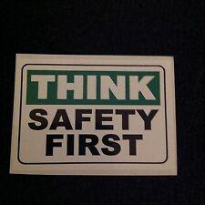 "Stk#23 ""Think Safety First"" Vinyl Sticker, 1-3/4"" x 2-1/2"" Adhesive, Ships Free"