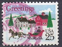 USA Briefmarke gestempelt 25c Greetings Schlittenfahrt Rundstempel / 597