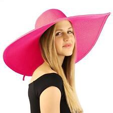 "Summer Derby Big Super Wide Brim 8"" Brim Floppy Sun Beach Dress Hat Fuchsia"