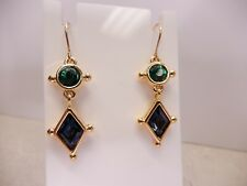 Swarovski Earrings Crystal Dangle Blue Green French Wire Gold Plated