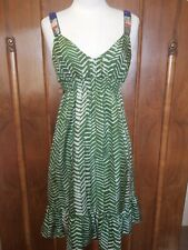 Velvet Brand sz Medium Green Beaded Straps Knee Length Dress 100% Silk,NWOT