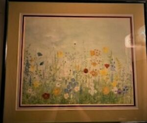 Print, Wild flowers, by Artist Eolo, Signed, Numbered, Framed