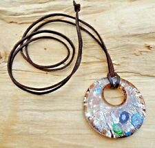 Lampwork Glass Large Disc Gold/Silver/Green/Black Pendant & Long Leather Cord