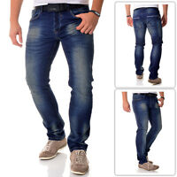 One Republic Regular Fit Dark Blue Men Jeans Trousers Washed Look | FREE POST