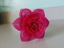 Handmade French beaded Flowers Large Peony flower dark fuschia color