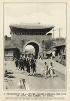 Japanese Occupation Seoul Korea Korean Soldiers Street Scene 1904 old print