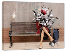 Banksy Seagulls Attack Art Reprint on Framed Canvas Wall Art Home Decoration