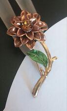 Striking Vtg Multi Layered Flower Brooch Rhinestone Brown Green Enamel BEAUTIFUL