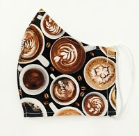 Coffee Barista Cafe Fabric Face Mask Double Layer w Filter Pocket Cotton