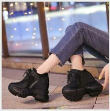 Women's Creeper High Heel Shoes Hidden Platform Lace Up Athletic Sports Sneakers