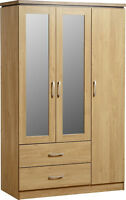 Seconique Charles 3 Door 2 Drawer Mirrored Wardrobe - Oak Veneer & Walnut Trim
