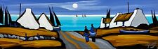 """ORIGINAL IRISH PAINTING """"MOON ON BLUE BAY"""" BY J.P. ROONEY COLLECTABLE IRELAND"""