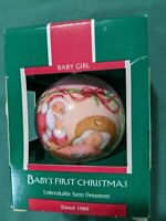 Hallmark Keepsake Baby Girl's 1st Christmas Satin Ball Ornament 1989