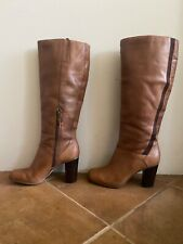 Stylish Size EU 40 Au 9 Honey Tan AIRFLEX Knee High Boots with Block Heel