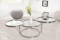 Designer Couchtisch Rund Chrom in Silber Tisch Beistelltisch REPRO Art Deko NEU