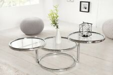 Design Table Basse Rond Chrome en Argent D'Appoint Repro Art Déco Neuf
