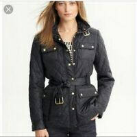 Banana Republic Women's Quilted Long Sleeve Jacket Navy Black POCKETS S Small