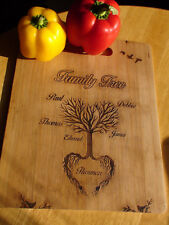 Personalised Engraved Family Tree Hand painted and finshed.Chopping board. UK