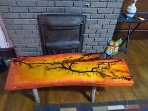 Decorative Live Edge Maple Coffee Table With Fractal Burning