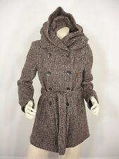 NWT VERTIGO PARIS WOOL BLEND DOUBLE BREASTED BIG HOOD BELT COAT WOMEN'S M $360