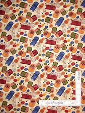 Sew Thread Spool Button Toss Cream Cotton Fabric Wilmington Sew Curious - Yard
