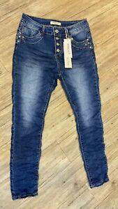 Jewelly Baggy Boyfriend Damen Jeans Dunkelblau Schlicht Stonewashed NEU!!!
