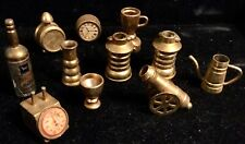 11 Miniature Brass Household Items, Plus A Cannon 0.75� - 2� Tall