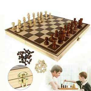 UK  Chess Wooden Set Folding Chessboard Magnetic Pieces Wood Board New