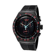 Swatch In Dark Black Dial SS Silicone Chronograph Quartz Men's Watch YOB105