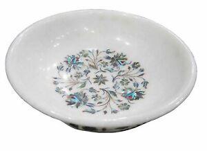 """10 """" Marmor Obstschale Semi Precious Steine Blumenmuster Handmade Inlay Arbeit"""