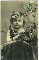 circa 1907 Little Blond ADORABLE CHILD Grapes in Hair photo postcard
