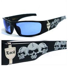 ff9996ef4a9 Locs Mens Cholo OC Style Motorcycle Biker Shades Sunglasses - Black Skull  LC55