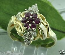 Pre owned 0.78 ct 14k Yellow Gold Natural Ruby Champagne Diamond Ring  Cocktail