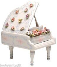 "New Collectible Porcelain Grand Piano+Strings & Keys-""Fur Elise"" Music Box+Box"