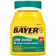 BAYER LOW DOSE 81mg DAILY ASPIRIN REGIMEN 300 ENTERIC COATED TABLETS EXP 6/20+