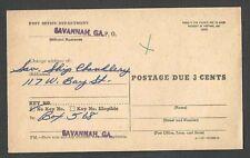 Ca 1955 P C SAVANNAH GA OFFICIAL CHANGE OF ADDRESS FORM POSTAGE DUE 3c