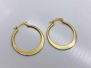 UK Genuine 9ct Yellow Gold Ladies Oval Hoop Earring 24mm Brand New 1.3gr