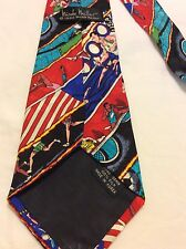NICOLE MILLER MEN's HAND SEWN 100% SILK SPORTY PICTURES MULTI COLOR ITALY